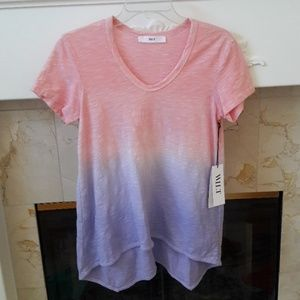 Wilt Peony Pink & Lavender Ombre Short Sleeve Top